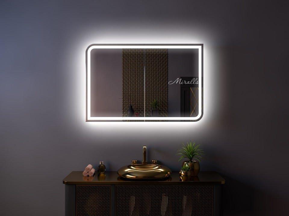 Зеркальный шкаф со скругленными углами в ванную Rishilie