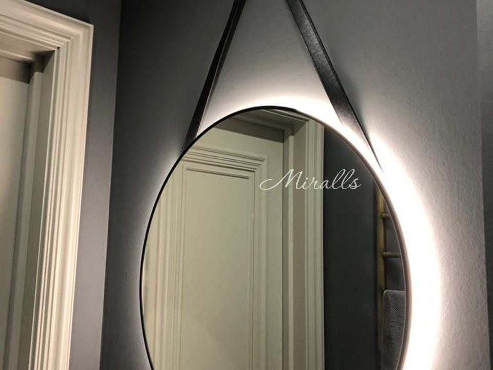 Зеркало с подсветкой на ременном подвесе Medalion Extra